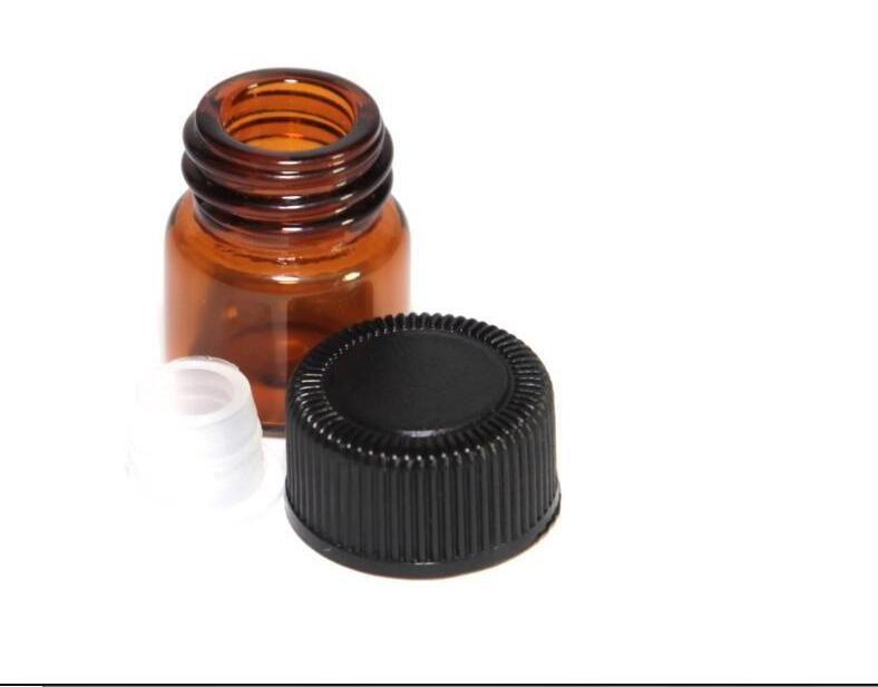 Flacon de 1 ml 1/4 dram d'huile essentielle de verre ambré tubes d'échantillon de parfum flacon avec bouchon et bouchons