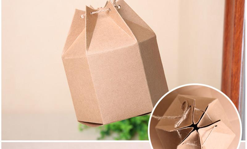 Dhl 5911cm Gift Doypack Craft Paper Boxes With Rope 196x354x433 Nut Tea Hexagon Stand Up Kraft Package Box Small Cardboard Wholesale From