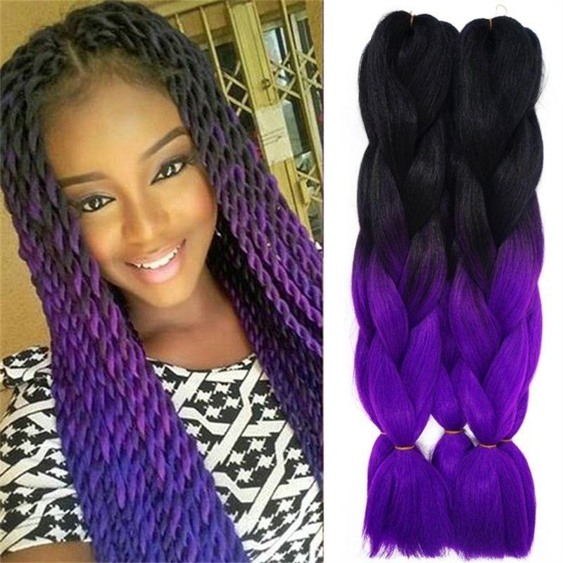 Marley Braid Hair Two Tone Purple Grey Blue Black Ombre