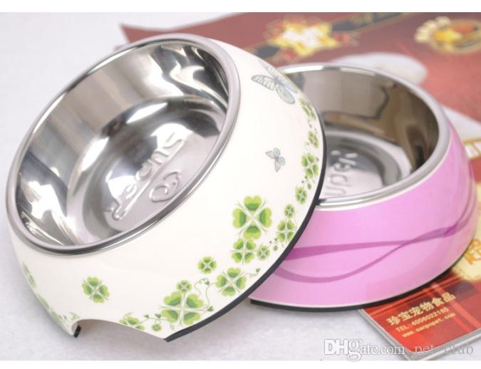Stainless Steel Dog Bowls China Style Flower With Rubber Base Non-Skid Classical Food Bowl Water Bowl For All Pets Rust Resistant Dish