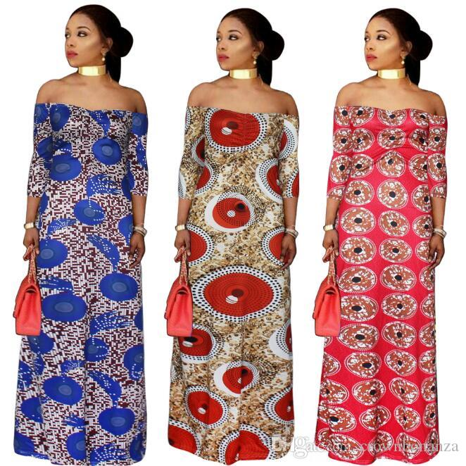 54d85fe62f0 African Women Clothing Plus Size Print Long Dresses Maxi Dress Africaine Off  Shoulder Summer Vetsidos Robe De Soiree Canada 2019 From Crownbonanza