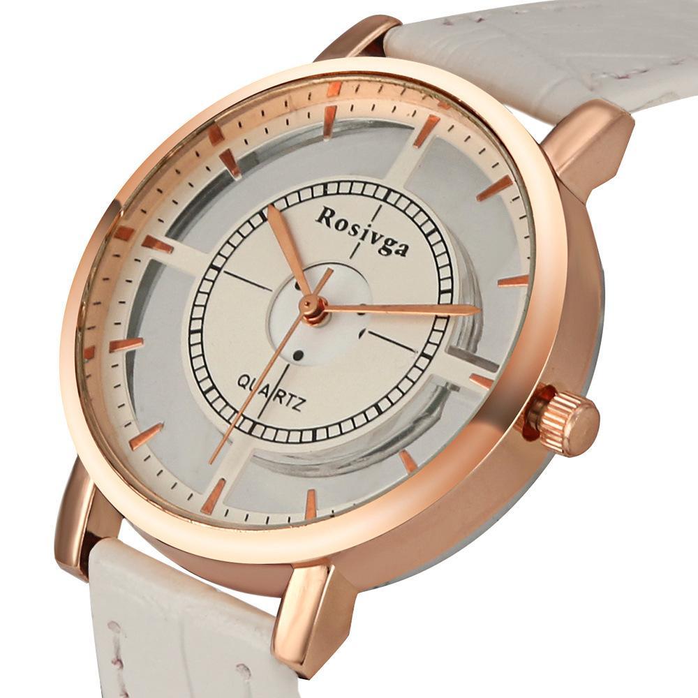 Fashion Women Watch Luxury Unique Stylish Double Hollow Lady Watches Elegant Casual Quartz Wristwatch Gift Girls Clock Black
