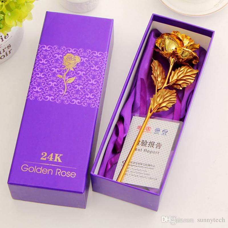 Regalos del día de San Valentín 24 k flor de oro flor de rosa hecha a mano hechos a mano por inmersión amantes de tallo largo boda para los amantes regalo LZ0046