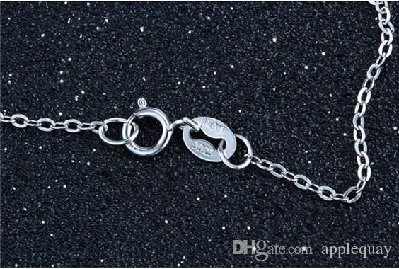 925 серебряные ожерелья diy кулон стерлингового серебра женщина ювелирные изделия крест цепи белого золота блестящие тонкие колье мода популярные валентина подарок 6 шт.