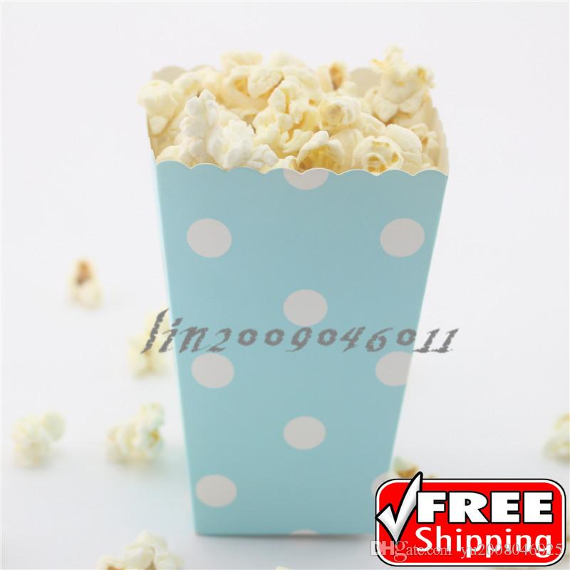 36pcs light blue popcorn boxes polka dotbaby shower birthday partycustom favor gift candy snack paper treat