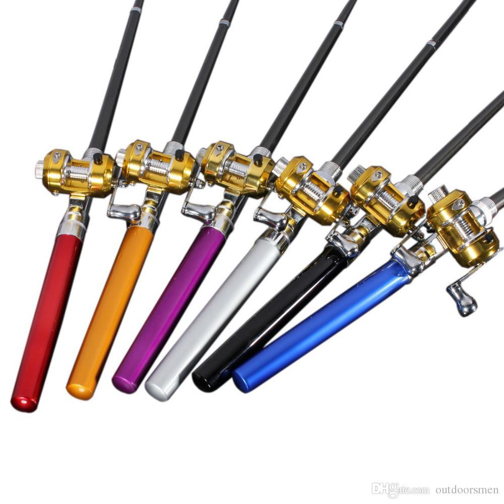 Forme de stylo portable pour poche télescopique Mini pôle de pêche pêche pointe Sea Rod canne à pêche avec moulinet
