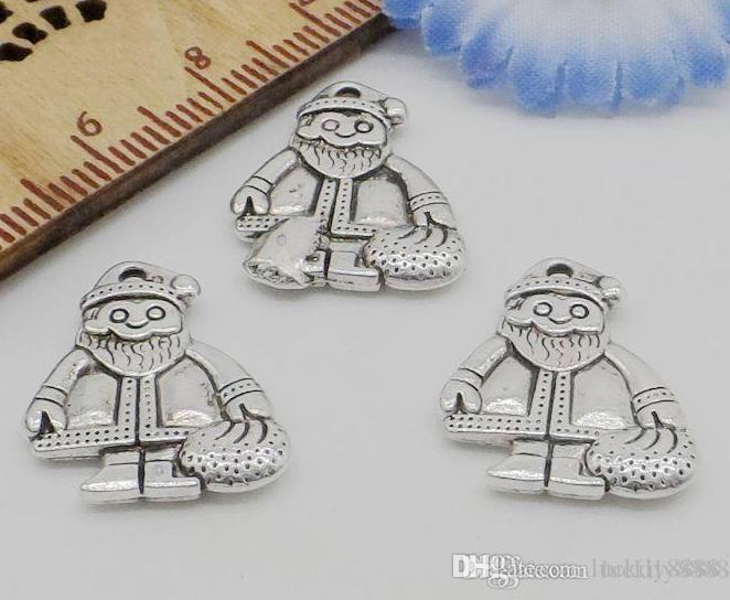 Antique Silver Father Christmas Charms Pendant For Jewlery Making 19x16mm
