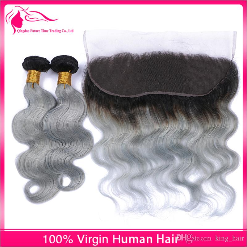 13x4 Full Lace Frontals With Brazilian Virgin Body Wave Hair Bundles Ombre #1B/Grey Two Tone Hair Weaves With Lace Frontal