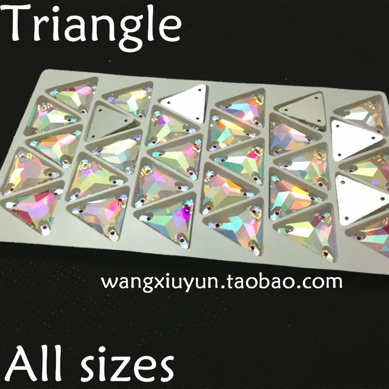12MM ، 16MM ، 22MM خيط على مثلث الكريستال حجر الراين AB لون الخياطة الكريستال لصنع اللباس