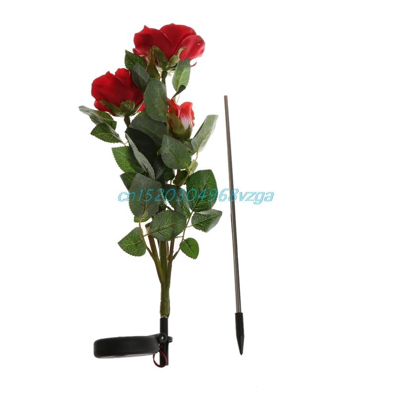 Wholesale-Solar Powered 3 LED Rose Flower Garden Night Light Outdoor Outdoor Decor # H028 #
