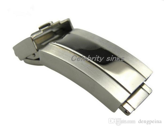 16mm band buckle Deployment clasp Silver polished + brushed High quality Stainless Steel for rolexwatch