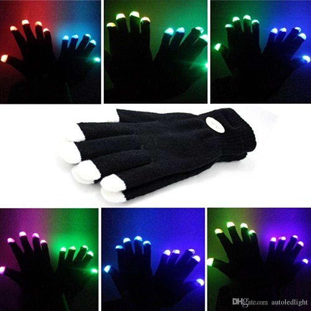 6 stili Guanti lampeggianti a LED elettronici multicolori led colorati Accendi Halloween Dance Rave Party Fun