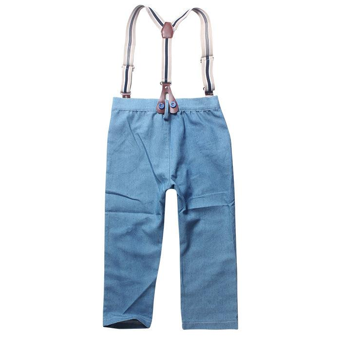 Latest design summer baby boys outfits long sleeve shirt+suspender jeans boy's suit kids formal gentle suit boy denim clothing set