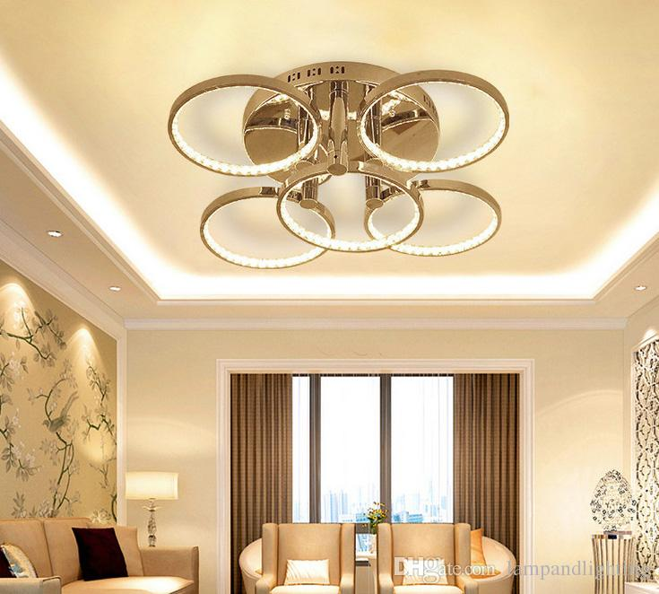 현대 5 반지 크롬 알루미늄 LED 크리스탈 라운드 천장 조명 램프 조명기구 L65 * 거실 침실에 대 한 H20cm 100W AC220-240V