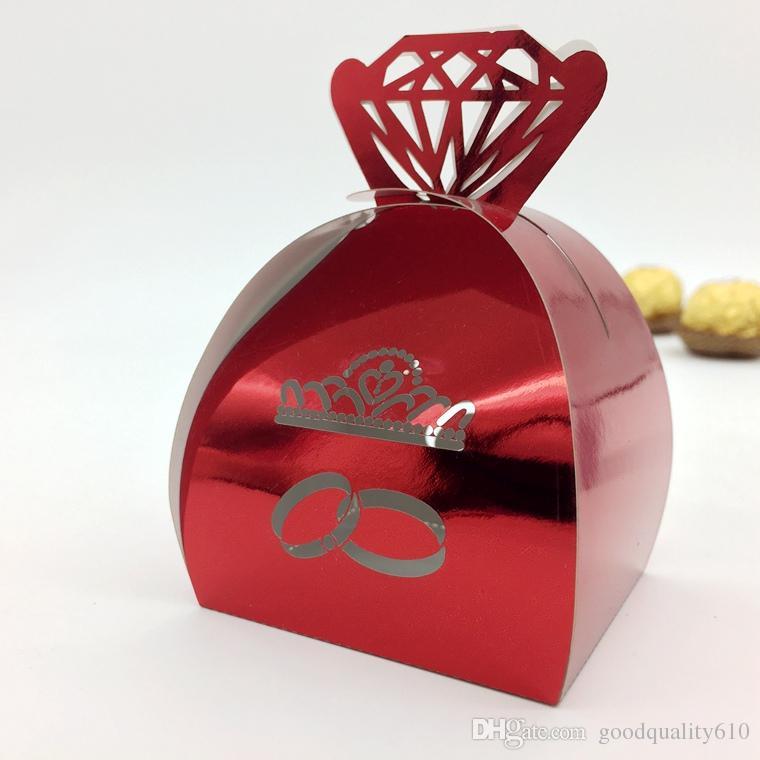 Découpé Au Laser Creux Diamants Couronne Anneau Boîte De Bonbons Chocolats Boîtes Pour Fête De Mariage Bébé Douche Faveur Cadeau