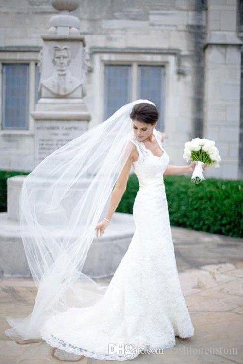 3M Cathedral Wedding Veil White Ivory Champagne Bridal Veil Cut Edge One Layer With comb 074