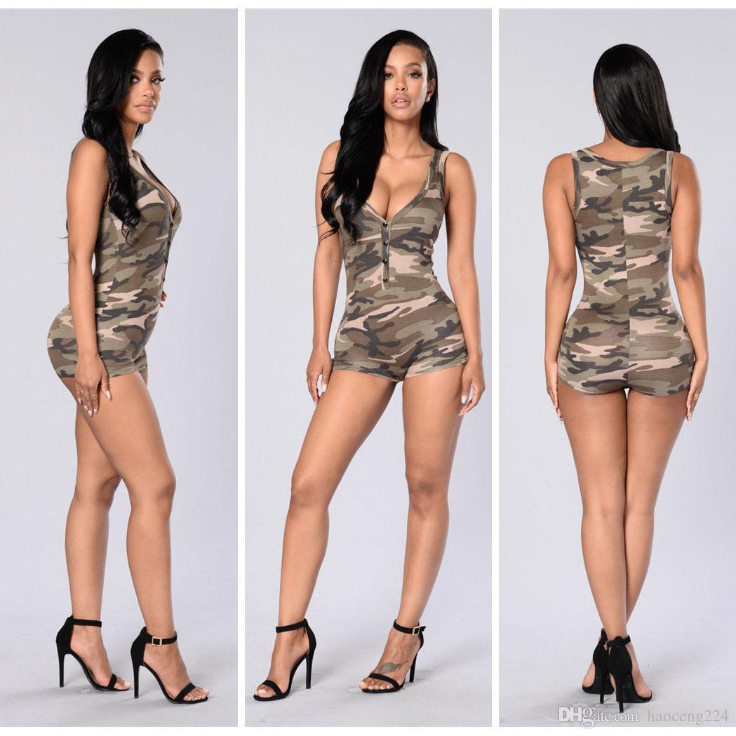 Femmes Combinaison 2016 Sexy Romper Armée Camouflage Body Bodycon Cou V Profond Pantalon Sans Manches Sport Suit Feminino Combishorts