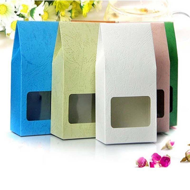 8x15.5x5cm Reclose Stand Sacs Kraft Colorés avec Fenêtre Claire Couleur Kraft Papier Emballage Cadeaux De Thé Bonbons Boîte De Mariage