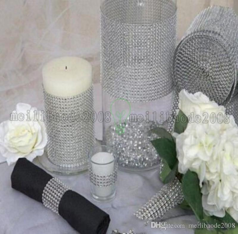 New Wedding Gift DIY Craft Accessories 24 Rows Diamond Mesh Wrap Sparkle Rhinestones Crystal Ribbon 10 Yards/Roll For Party Decoration MYY