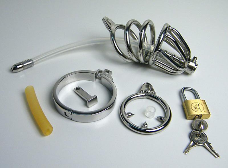 Nuevo estilo de dispositivo de castidad con doble anillo Tubo de silicona con púas Anillo anti-vertimiento Jaula de gallo Masculino uretral Sonido SM Artesanía Juguetes sexuales
