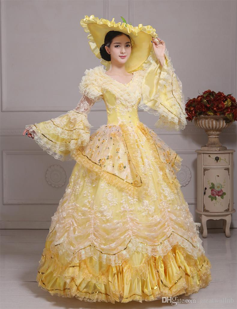 100%real Carnival Yellow Lace Belle Ball Gown With Hat Medieval ...