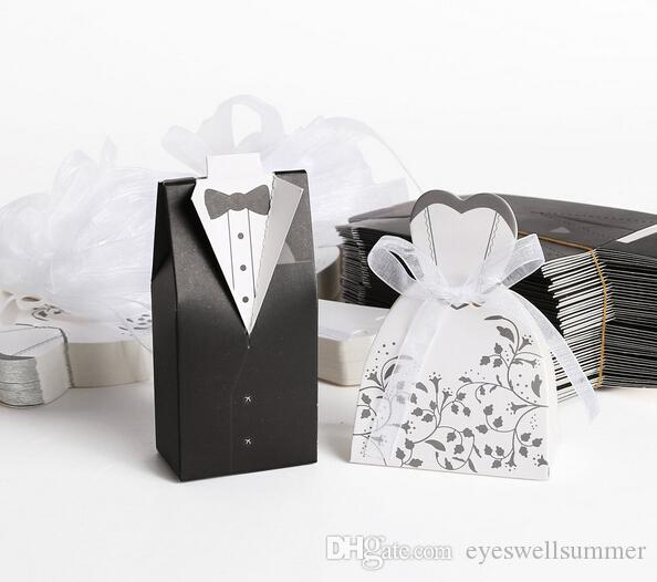 Darmowa Wysyłka + New Arrival Bride and Groom Box Pudełka Ślubne Pudełka Favors Wedding Favors, 50 par = 100 sztuk / partia