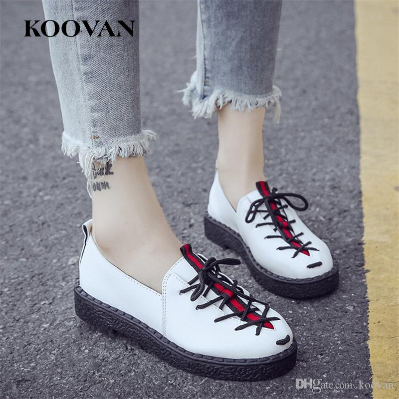 67cd65cd2 Compre Sapatos Casuais Loafer Moda Feminina Sapatos 2017 Koovan Venda  Quente Novo Outono De Couro Genuíno Estrelas Brancas Sapatos De Fundo Plana  Senhoras ...