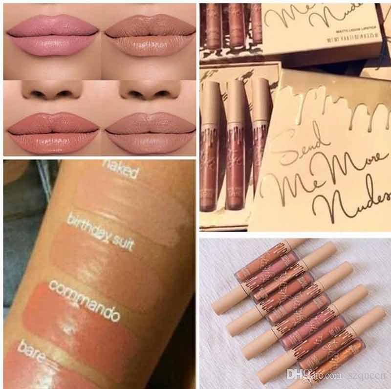 Newest Hot Kylie Jenner Send Me More Nude Set Nude Liquid Lipstick Matte and Velvet Lipgloss By Kylie Cosmetics 660147-1