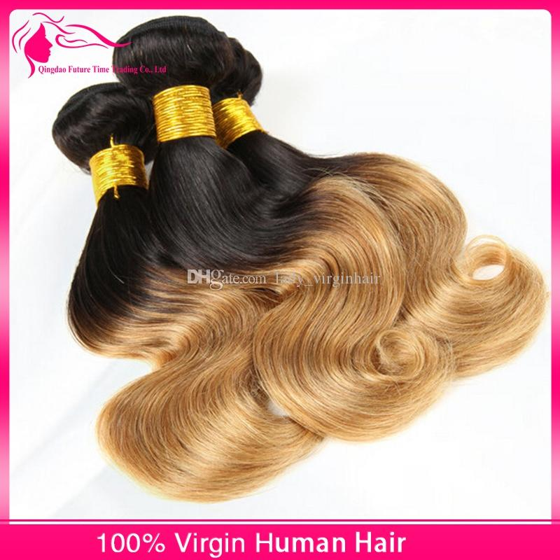 Short Wavy Bob Style Hair Weaves Two Tone Color 1B/27 Honey Blonde Ombre Peruvian Human Hair Weft Extensions 3 Bundles