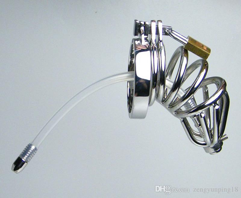 Neuer Stil Doppelring Keuschheits Silikonschlauch mit Widerhaken Anti-Shedding Ring Cock Cage Männlichen Harnröhrenklingenden SM Handwerk Sexspielzeug