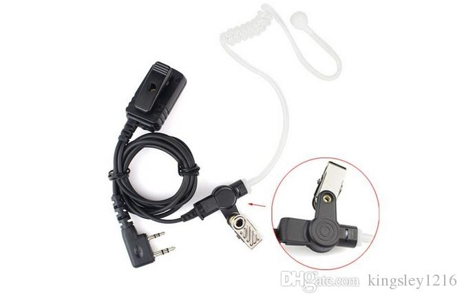 C0253A 2 Pin PTT MIC Waterproof Covert Acoustic Tube Earpiece for KENWOOD Radio QUANSHENG HYT TYT BAOFENG