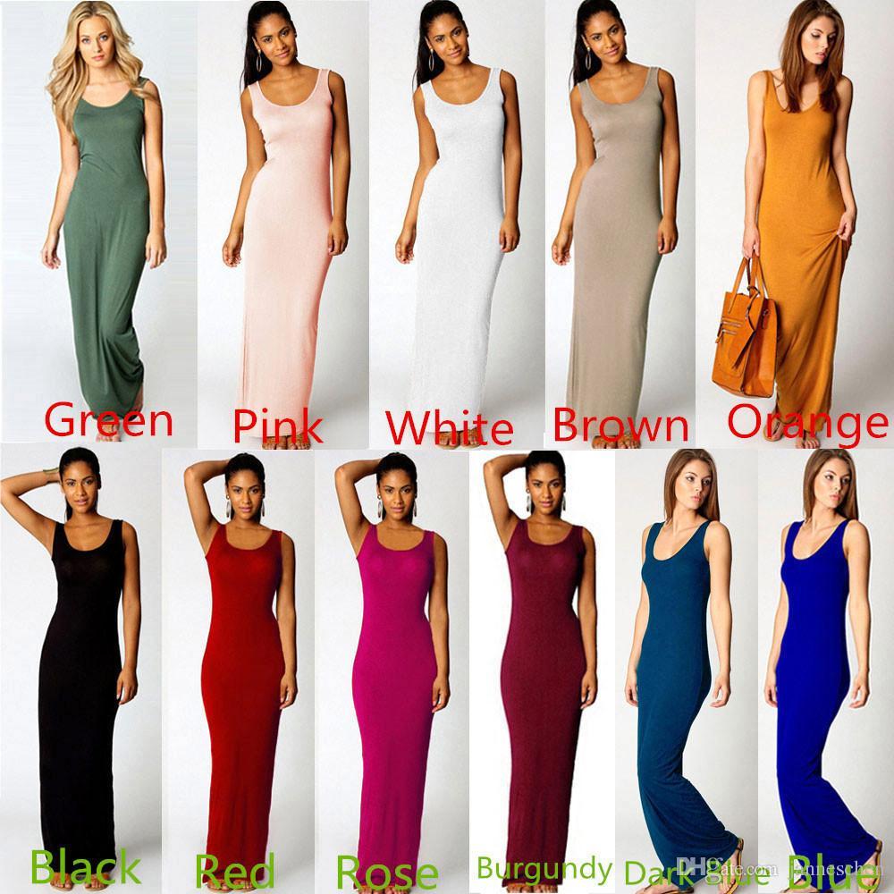 2016 Summer Dress Sexy Women Maxi Dress Solid O Neck Sleeveless ...