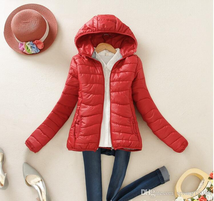 Winter Slim Candy-colored Hooded Padded Jacket Female Warm Winter Coat Parkas Ultra Light Down Cotton Overcoat dames jassen