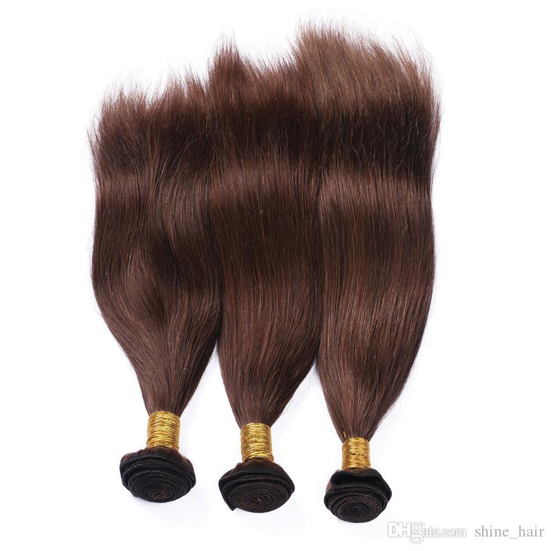 Silky Straight Virgin Peruvian Chocolate Brown Human Hair Weaves Extensions #4 Medium Brown Human Hair Bundles Wholesale Double Wefts