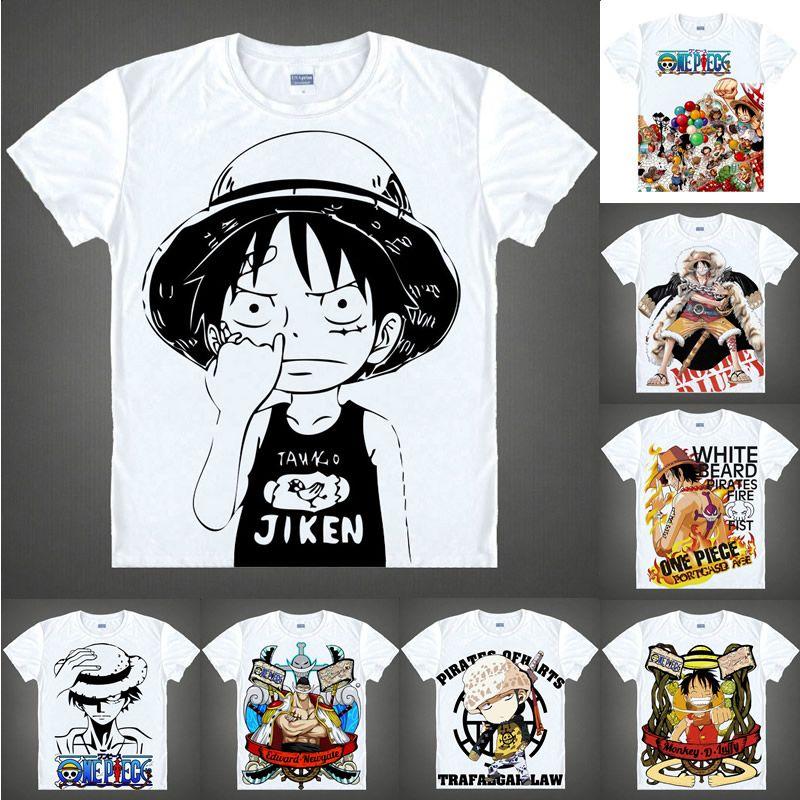 805647d2f35 Anime Shirt ONE PIECE T Shirts Straw Hat Pirates Short Sleeve Monkey D  Luffy Zoro Nami Chopper Cosplay Motivs Hentai Shirts White T Shirt Design T  Shirt ...