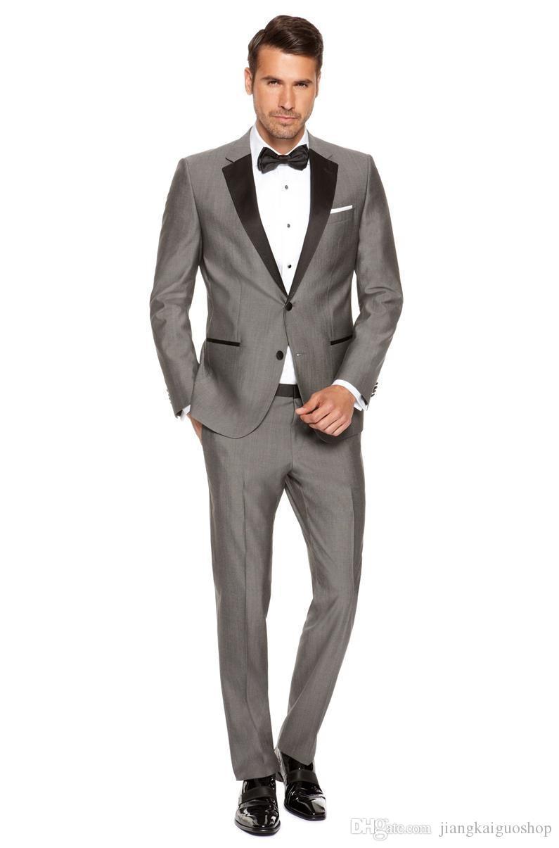 Por encargo Novios Esmoquin Dos botones Gris Muesca Solapa de satén Mejor hombre Padrino de boda Hombres Trajes de boda Novio Chaqueta + Pantalones