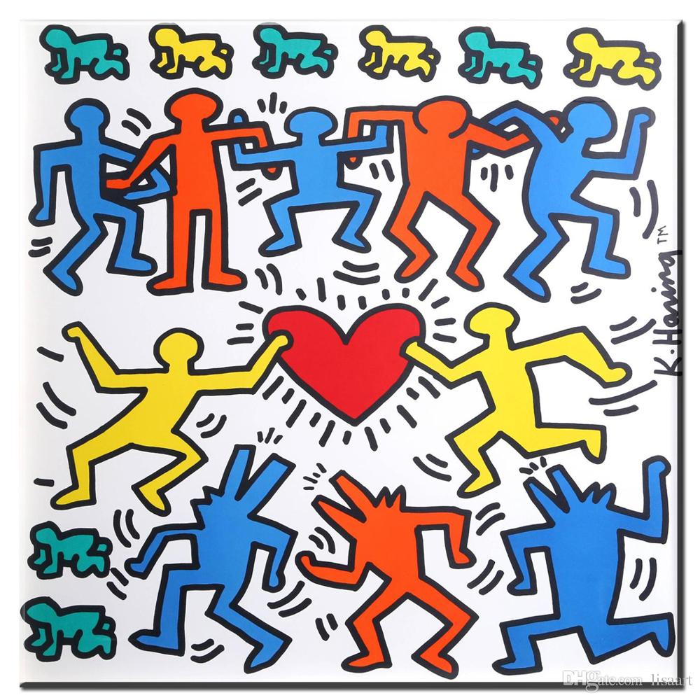 ZZ1374 modern decorative canvas art keith haring abstract canvas pictures oil art painting for livingroom bedroom decoration unframed
