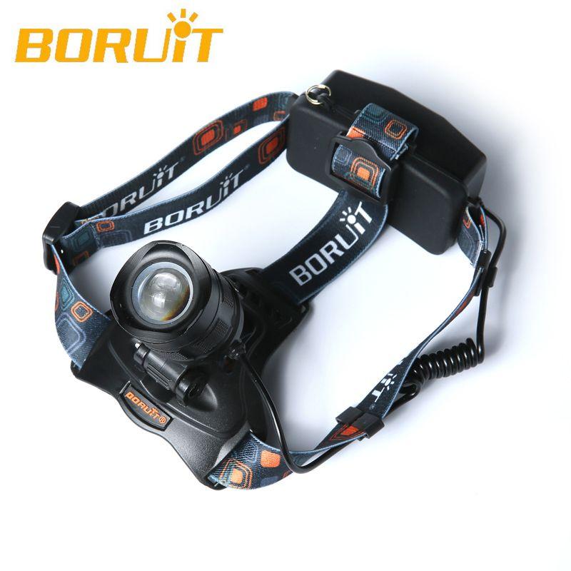 Boruit 2500LM Cree XM-L2 LED Headlight 5-Modes Headlamp Head focusing Torch+USB Charger+18650 4000mAh Batteries Fishing Camping