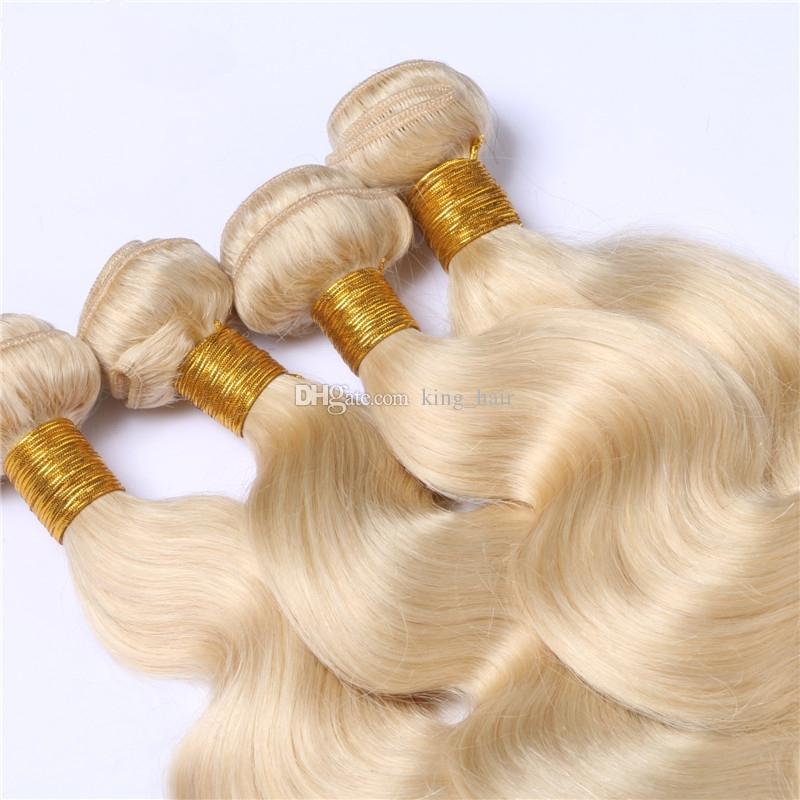 لون نقي # 613 شقراء الشعر البشري 4 حزم 9a الصف موجة الجسم الملمس نسج الشعر غير المجهزة شقراء 613 الشعر 10-30 بوصة