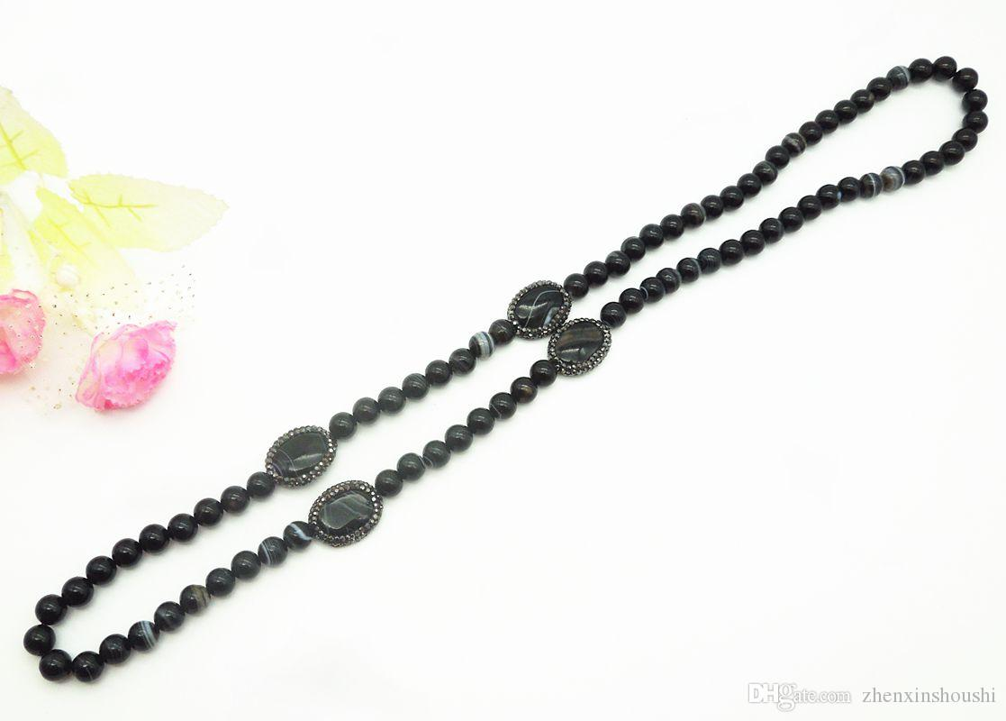 Moda popolare collana di perline fai da te, collana di gioielli ciondolo catena di gioielli maglione agata nera della signora naturale agata gioiello accessori