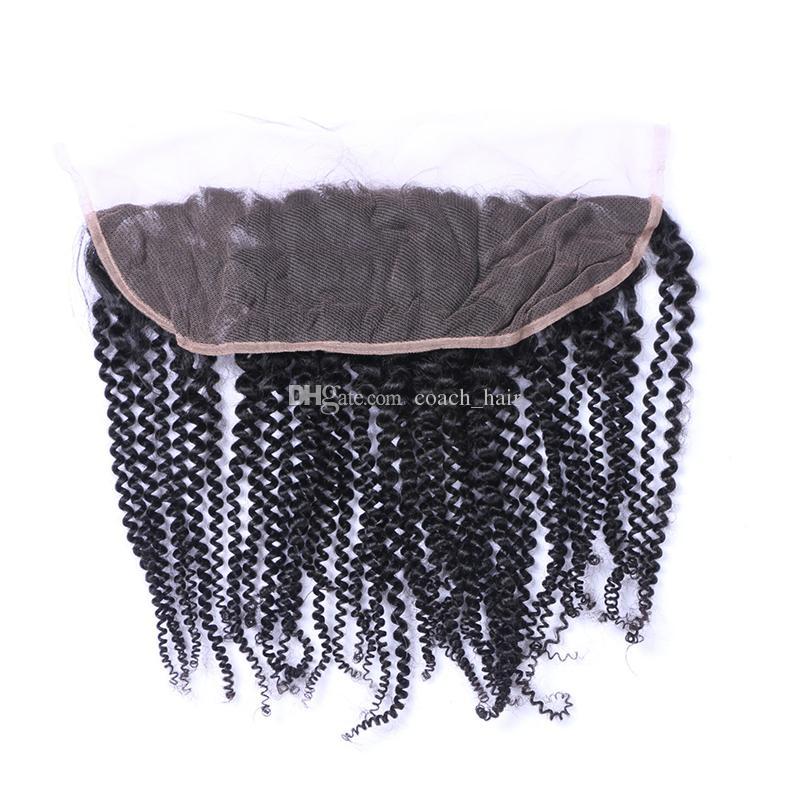 8A Grade Dentelle Frontale Péruvienne Cheveux Crépus Bouclés Fermeture Frontale 13X4 Dentelle Frontal Avec Des Cheveux De Bébé Péruviens Bouclés Cheveux