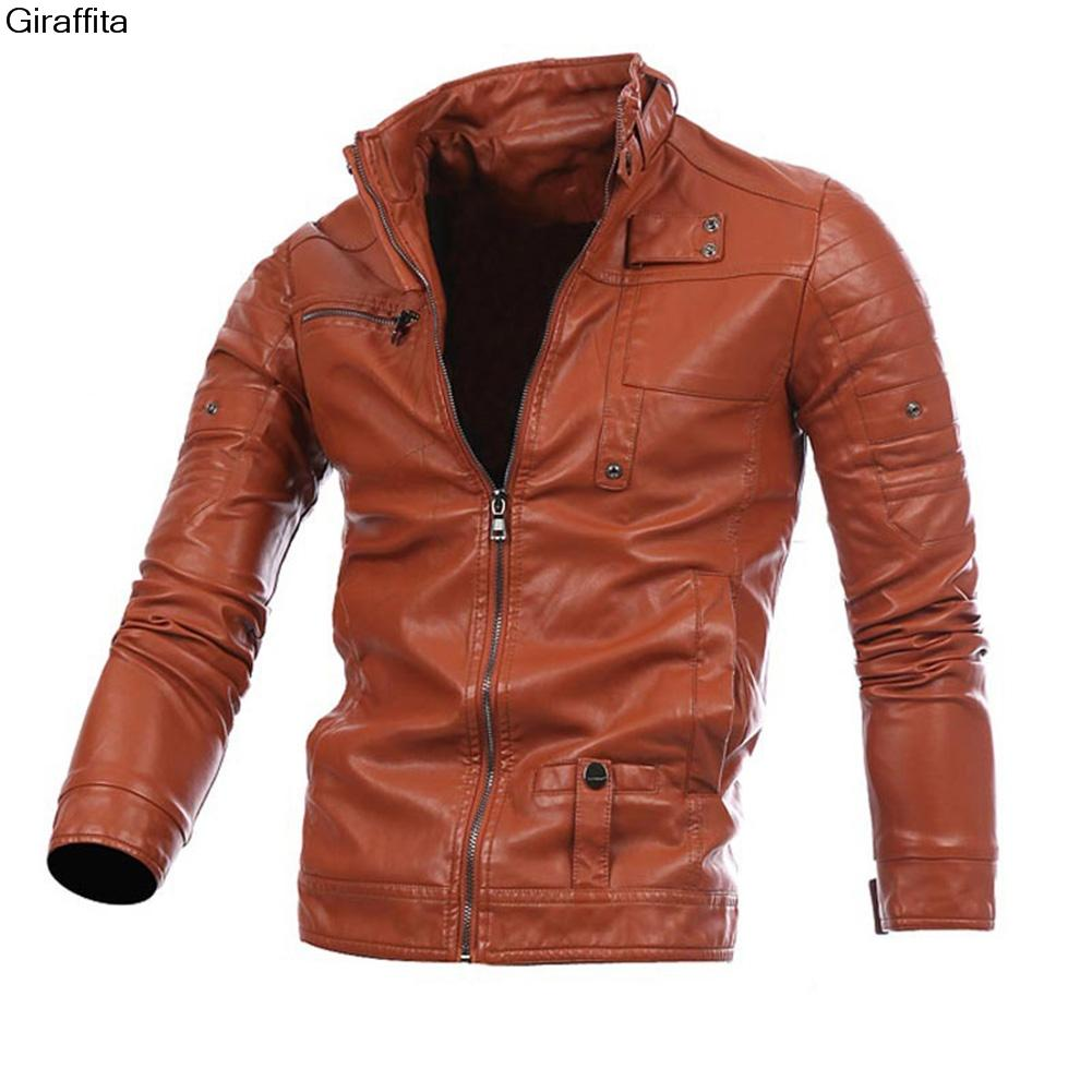 5deddbcdf Wholesale- 2017 Mens Leather Jackets Fashion Slim Solid Coat Pu Clothes  Male Winter Long Sleeves Stand Collar Motorcycle Leather 3 colors