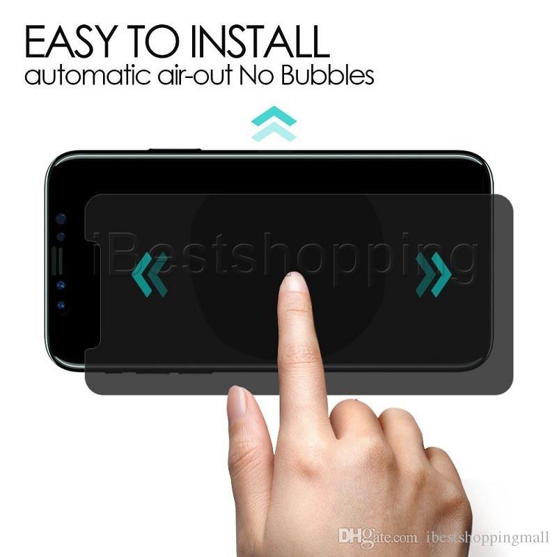 Pour iPhone X Xr Xs Max 8 7 6 6S Plus Protection d'écran en verre trempé anti-espion avec emballage de vente au détail