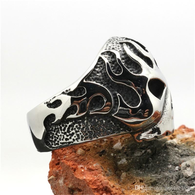 / 새로운 디자인 바이커 스타일 해골 반지 316L 스테인레스 스틸 패션 보석 바이커 해골 반지