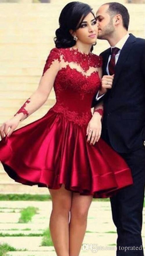Burgundy Wine Red Short 2017 Formal Homecoming Dresses Jewel Illusion 3/4 Long sleeve Lace Applique Sexy Back Knee Length party Gowns
