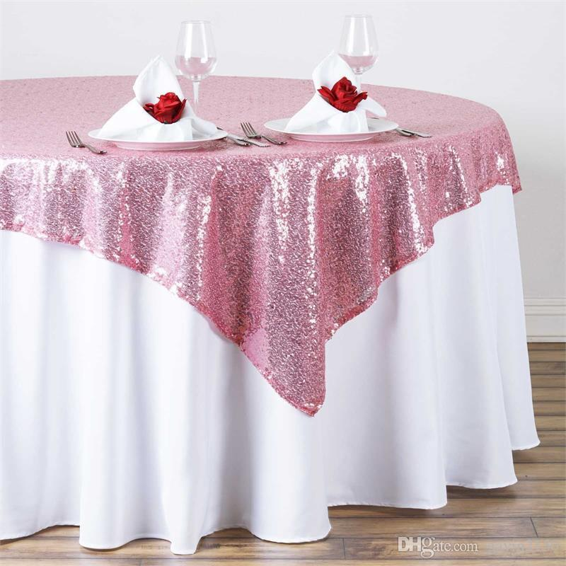 High Quality 96inch Square Gold Silver Sequin TableCloth Wedding Beautiful Gold Silver Sequin Table Overlay