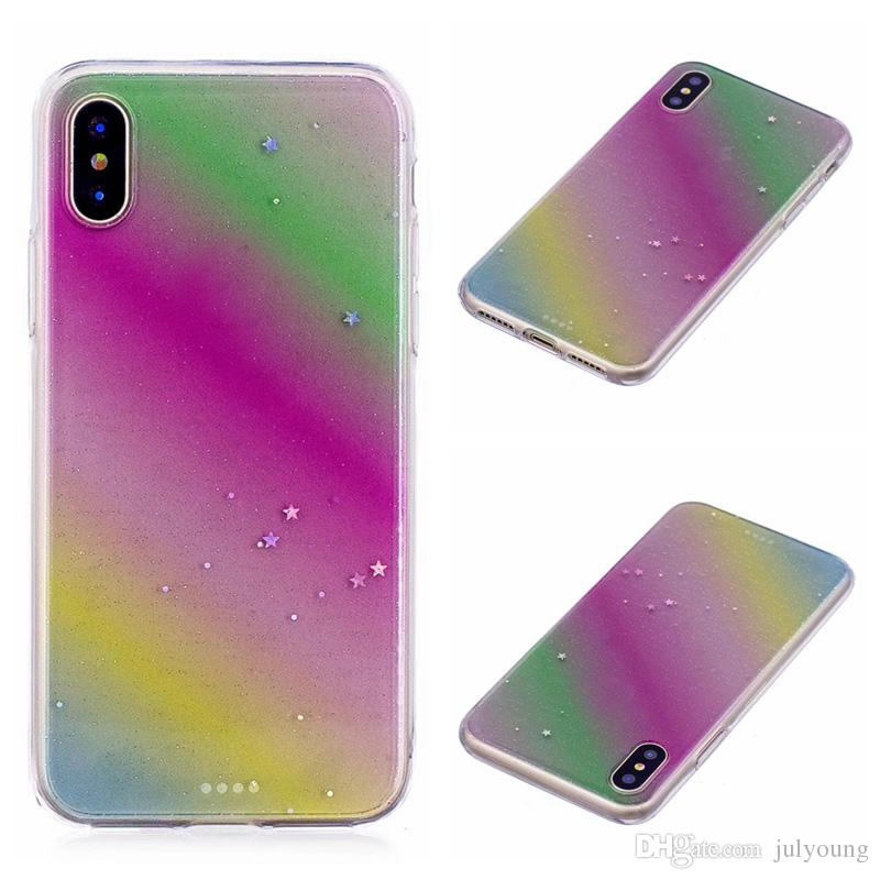 Fashion Rainbow Colorful Gradient Soft TPU Case For Iphone X 5.8inch Silicone Gel Rubber Dual Color Colorful Bling Glitter Star Clear Cover