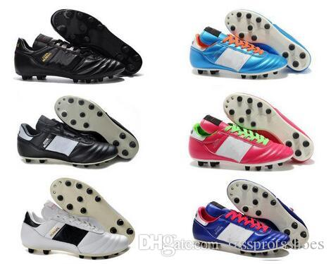 cbdfbb673 2019 Cheap Mens Copa Mundial Leather FG Soccer Shoes Hot Soccer Cleats 2015  World Cup Football Boots Size 39 45 Black White Orange Botines Futbol From  ...