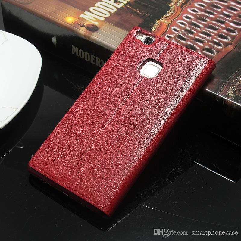 Moda para Huawei P9 Lite caso de la ventana cubierta dura de la PC lujo original colorido Flip protector funda de cuero genuino para Huawei Ascend P9 Lite