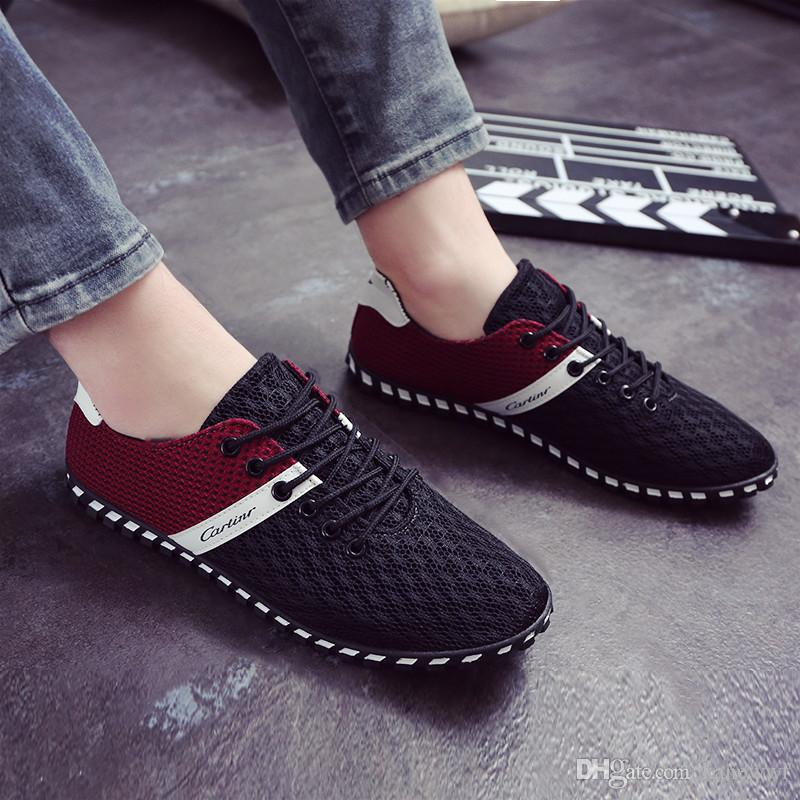 Respirables Mesh Sport Chaussures Casual Mode Hommes Slip-On Chaussures pour hommes,rouge,39